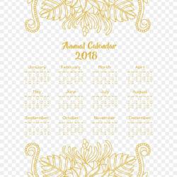 Yellow Flower Vine Decoration Calendar Template