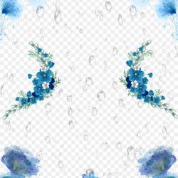 Yushui Solar Term Poster Qingming Blue Flower Rain Background